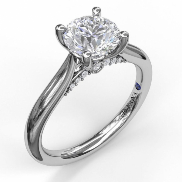 Round Cut Solitaire with Decorated Bridge S3046 | Engagement Rings