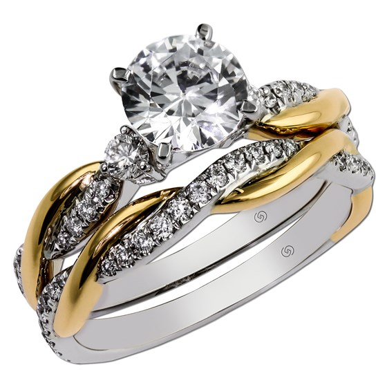 Diamond Infinity Two Tone Engagement Ring by Gottlieb & Sons