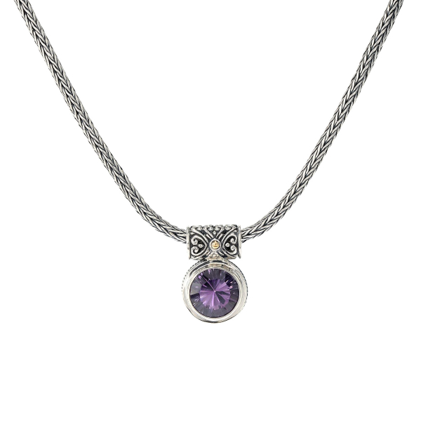 Sterling silver/ 18 kt gold necklace with gemstone by Samuel B.