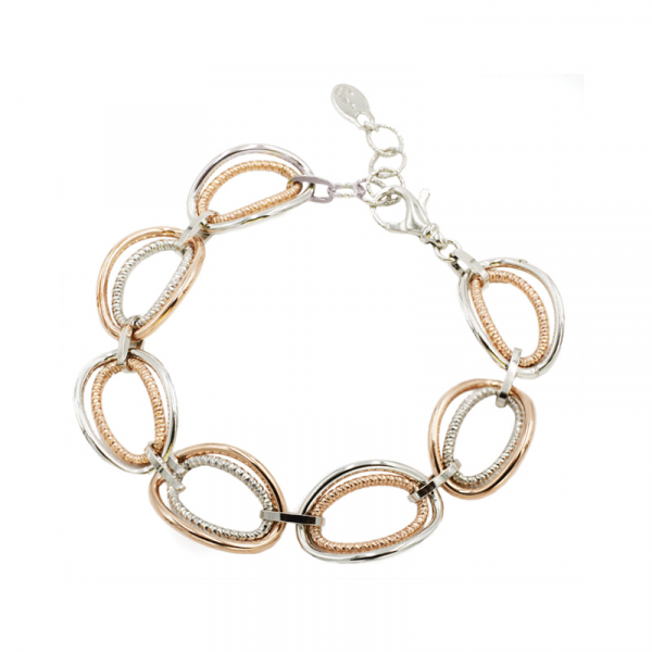 Sterling Silver & Rose Gold Plated Link Bracelet by Frederic Duclos