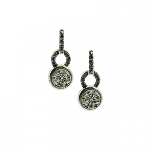Sterling Silver Druzy Crystal Earrings by Frederic Duclos