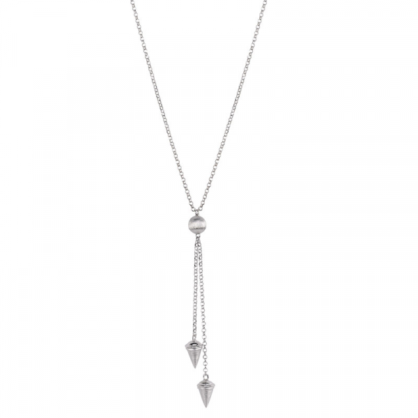 Sterling Silver Lariat Necklace by Frederic Duclos